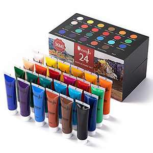 Demengite Acrylic Paint Set Assorted 24 Colors Non Fading Rich Pigments Multi Surface Supplies for Paper Canvas Wood Fabric Ceramic Leather Rock Perfect for School Supplies 1.2fl oz (36 ml)