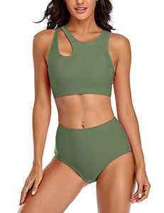 SELINK Women Two Piece Bathing Suit Cut Out Racerback Swimsuit High Waisted Bikini Sets Avocado L