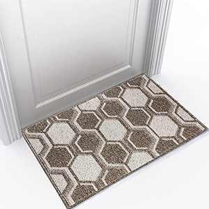 """Refetone Indoor Doormat Front Door Rug, 24""""x36"""" Absorbent Machine Washable Inside Door Mat, Non Slip Low-Profile Entrance Rug for Front Back Door, Camel"""