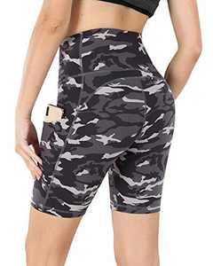 "Lingswallow Biker Shorts for Women with Pockets - High Waist Yoga Workout Running Shorts 8""/4"" Compression Biker Shorts"