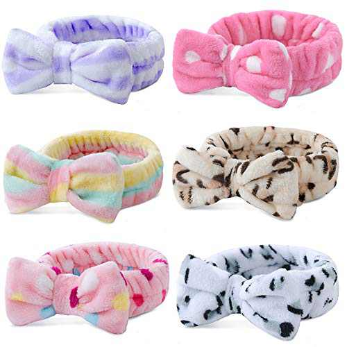 6 Pack Spa Headband,Bow Hair Band Women Facial Makeup Head Band Soft Coral Fleece Bowknot Head Wraps for Washing Face Shower , Bowtie Headbands Adjustable Elastic Hair Band for Girls and Women