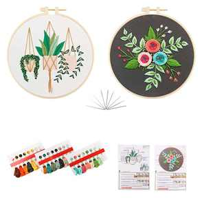 Embroidery Kit for Beginners,3 Sets Embroidery kit with 3 Embroidery Cloth with Floral Patterns, 3 Embroidery Hoop, Embroidery Thread and 6 Embroidery Needles