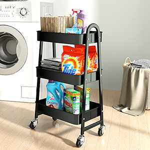SAYZH 3 Tier Rolling Utility Cart Metal Trolley Service Craft Cart Storage Organizer with Wheels for Kitchen, Laundry, Office, Home, Bedroom, Bathroom, Black