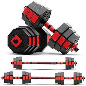 zybeauty Adjustable Dumbbells, 44Lbs(20kg) Weight Set, Anti-Rolling Octagonal Dumbbells to Barbells with Connecting Rod, 3-in-1 Home Gym Equipment for Men and Women Workout Exercise Training