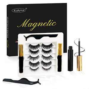 Tiktok Magnetic Eyelashes with Eyeliner Kit, Upgraded Super Strong Magnetism 5 Styles Magnetic Lashes with 2 Tube 5ML Eyeliner and 1 Applicator - No Glue Needed