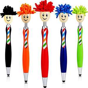 Ballpoint Pen Black Ink 5 Pieces, Pens with Stylus Tip, Stylus Mop Topper, 1.0 mm Ballpoint Pen Stylus Pen for Touch Screens, 3 in 1 Stylus Ballpoint Pens for Kids and Adults (5 Colors)