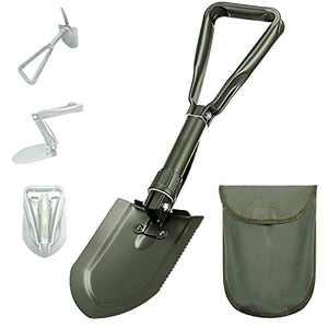 Folding Camping Shovel - Heavy Duty High Carbon Steel Entrenching Tool 22.83 Inches, Foldable Survival Shovel w/ Wood Saw Edge and Tactical Shovel Carry Case (OD Green)