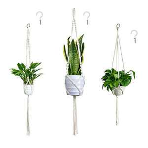 GoChes Macrame Plant Hangers, 3 Pack Hanging Planter Basket with 3 Hooks, Indoor Outdoor Hanging Plant Holder for Boho Home Decor, Different Size Handmade Pot Holder with Beautiful Tassels and Beads