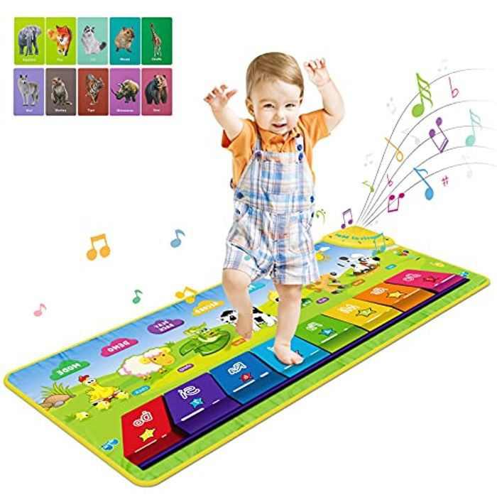 RenFox Kids Piano Mat, Music Dance Mat Children Keyboard Mat 7 Kinds of Animal Musical Playmat for Baby Toddlers Boys Girls 1-5 Years Old(100 * 36.5 cm)