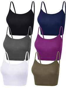6 Pieces Women Crop Cami Top Sleeveless Spaghetti Strap Tank Top for Sports Yoga (Black, Navy Blue, Grey, White, Purple, Dark Green, Medium)