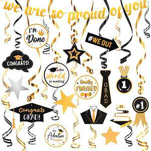 Graduation Decorations 2021, 31PCS Graduation Party Supplies, Graduation Stuff Hanging Swirls Ceiling Decor And String Graduation Banner for Elementary School 8th Grade High School College Black And Gold Party Decorations For Grad Decor Class Of 2021 (Graduation Decorations)