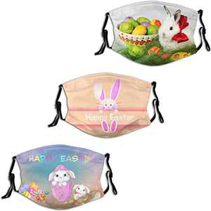 2021 Happy Easter Bunny Rabbit Egg 4 Face Mask 3PC Balaclava with 6 Filter Windproof Dustproof Adjustable Mouth Cover Elastic Strap Men's Women's