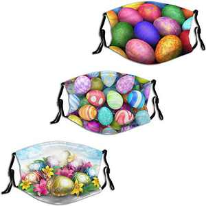 2021 Happy Easter Bunny Rabbit Egg 3 Face Mask 3PC Balaclava with 6 Filter Windproof Dustproof Adjustable Mouth Cover Elastic Strap Men's Women's