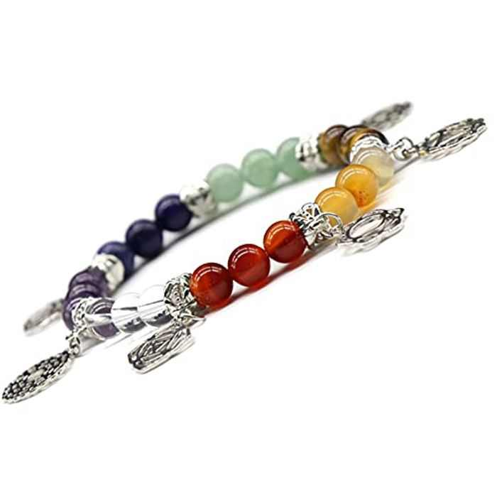 7 Chakra Crystals Bracelet Natural Reiki Stone Healing Crystals Ornament for Yoga Meditation Couple Parents Child Good Luck Christmas Gift (B)