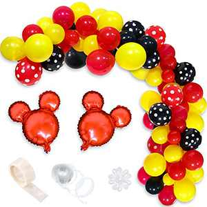 OSNIE Mickey Balloon Garland & Arch Kit Mickey Theme Party Red Black Yellow Balloon for Kids Birthday Baby Shower Mickey Party Supplies Baby Shower Wedding Decoration Photo Booth Props