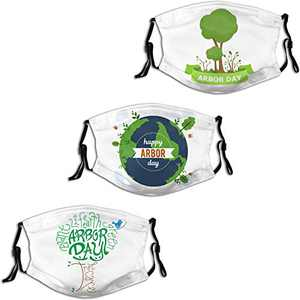 Arbor Day Happy Green Tree 2 Face Mask 3PC Balaclava with 6 Filter Windproof Dustproof Adjustable Mouth Cover Elastic Strap Men's Women's