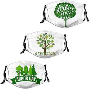 Arbor Day Happy Green Tree 1 Face Mask 3PC Balaclava with 6 Filter Windproof Dustproof Adjustable Mouth Cover Elastic Strap Men's Women's