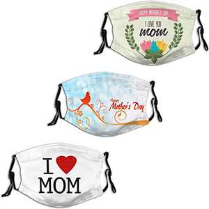 Happy Mother's Day Love Gift for Mom Grandma 2 Face Mask 3PC Balaclava with 6 Filter Windproof Dustproof Adjustable Mouth Cover Elastic Strap Men's Women's