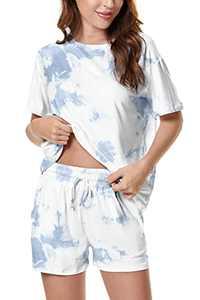 Welsters Women Pajama Set Tie Dye Lounge Sets Short Sleeve Sleepwear Shorts Set 2 Piece Outfits Loungewear Pj Sets S-3XL
