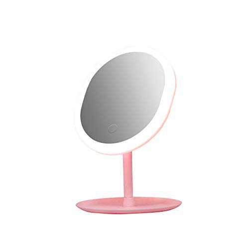 Desk Lighted Makeup Mirror with Small Circle 5X Magnifying Mirror Gift Trazzo Vanity Mirror with Lights,Makeup Mirror with Warm,Cool and Neutral Lights