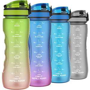 Motivational Water Bottles with Times to Drink, Leak-proof Time Marker Water Bottle for Adults, Food Grade Tritan Plastic, One-hand Opening Lid (Green-Orange Gradient)