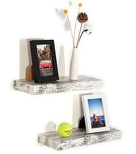 Califortree Rustic White Floating Shelves for Wall Mounted Set of 2, Wood Shelf for Bedroom, Living Room, Bathroom, Kitchen and Office
