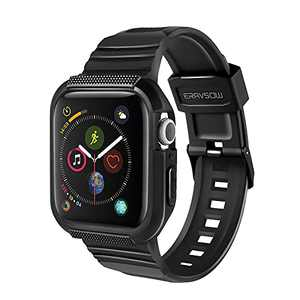 ERAVSOW Apple Watch Bands with Case, Designed for Apple Watch Series 6/SE/5/4 [44mm], Rugged Shock Resistant Case with TPU Sport Strap Bands - Black