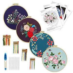 Welpettie 4pcs Embroidery Kit Starter Cross Stitch Kits with 2 Wooden Embroidery Hoops Scissors Needles and Color Threads Needlepoint Kit for Adults