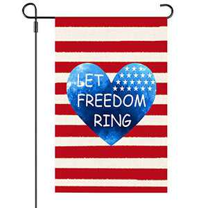 Welcome Patriotic Flag Let Freedom Ring Garden Flag Strip and Star American Flag 12.5 x 18 Inch Vertical Double Sided Holiday Flag for 4th of July Patriotic Memorial Day Independence Day Decoration