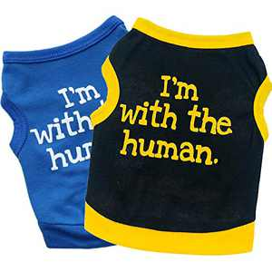 Pack of 2 Puppy Shirt Dog Shirt Cat Shirt I'm with The Human Print Pet Vest Dog T-Shirts Soft Tank Top Sleeveless Vest Dog Tee Shirt for Small Dogs (XS)