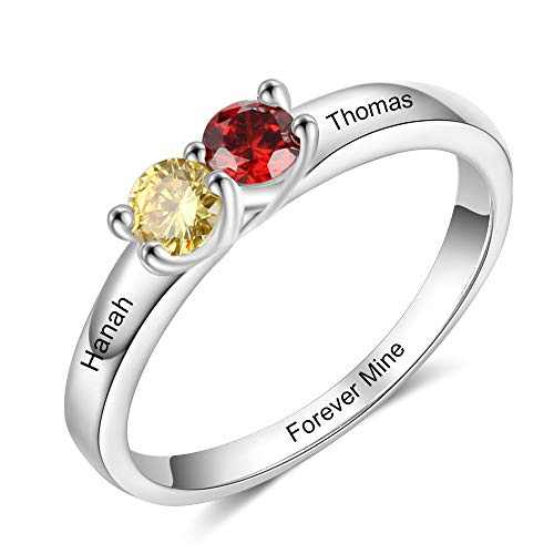 kaululu Gifts for Mom Personalized 2 Birthstones Rings for Her Engraved Custom Promise Ring Engagement Jewelry for Women Mothers Day Birthday Gifts for Daughter Grandmother Wife