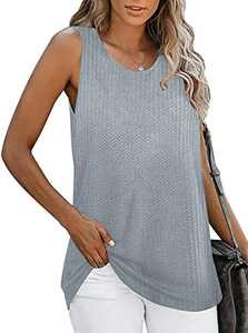 Womens Waffle Tank Tops Sleeveless Crewneck Shirts Soft Summer Casual Loose Fit Tops Grey