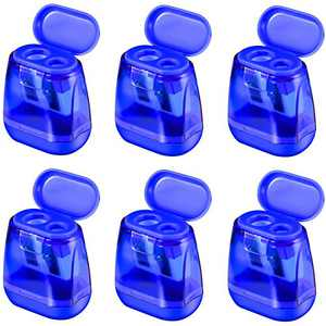 Manual Pencil Sharpeners, 6PCS Dual Holes Sharpener with Lid for Kids, Handheld Pencil Sharpener for School Home Office Supply Blue
