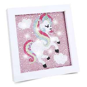 Happy Makers 5D Unicorn Diamond Painting for Kids, Fun Gem Diamond Art with Wooden Frame Arts and Crafts for Kids Ages 8-12 Diamond Dotz (Unicorn 6'' x 6'')