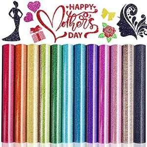 "Mother's Day 12 Pack Glitter HTV Heat Transfer Vinyl Bundle- JUWAIre Iron on Vinyl, 12""x 10"" Compatible with Silhouette Cameo,Easy to Cut & Press"