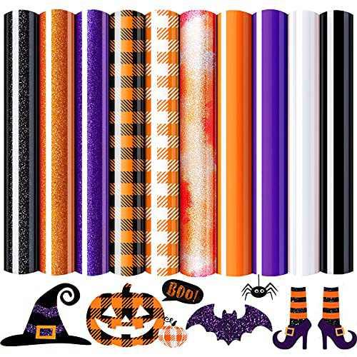 "10 Sheets Halloween Glitter Heat Transfer Vinyl, Heflashor Buffalo Plaid Orange Iron on Vinyl,12"" x 10"" Permanent PU Vinyl Sheets,Sticky Back Paper Craft for T-Shirts,Bags,Hats, Fabric Supplies"