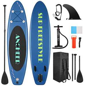 ANCHEER Inflatable Stand Up Paddle Board, Lightweight All Round iSUP with 3 Fins, Premium Accessories & Carry Bag, EVA Deck, Adj Floating Paddle, Ankle Leash and Double Action Pump (Navy Blue)