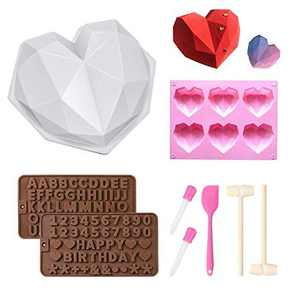 Silicone Moulds , Chocolate Heart Mold , Chocolate Letter and Number Mold with Wooden Hammers Silicone Scraper for Mousse Cake Dessert Biscuit DIY Baking Tools