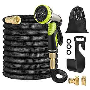 """HUTHIM Garden Hose Pipe 100FT Hose Pipe Expandable, 9 Function Retractable Hose Pipe Spray Gun, 1/2"""" 3/4"""" Solid Brass Fittings Connector, Flexible No-Kink Water Hose Portable Storage ( Black)"""