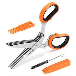Zazolyne Herb Scissors Set,Multipurpose Herbs Shears,Cool Kitchen Gadgets with Cover Comb Cleaning Brush,Cutting Mincer Chopper Gilantro, Vegetables,Basil