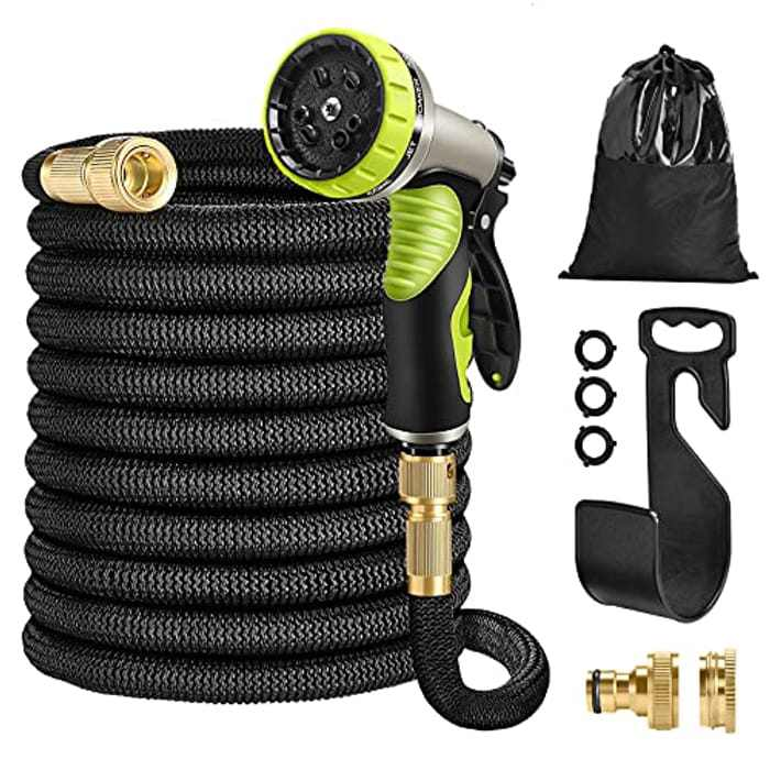 """HUTHIM Garden Hose Pipe 50FT Hose Pipe Expandable, 9 Function Retractable Hose Pipe Spray Gun, 1/2"""" 3/4"""" Solid Brass Fittings Connector, Flexible No-Kink Water Hose Portable Storage ( Black)"""