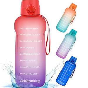 Half Gallon/64oz Motivational Water Bottle with Time Marker Reminder and Straw, BPA-Free Sports Daily Drinking Leak-proof Water Jugs for Fitness Gym Outdoor Sports Activity (Red Purple Gradients)