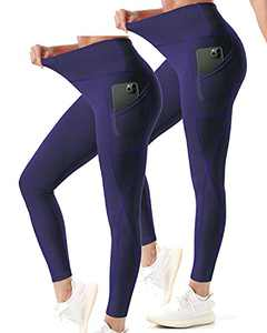 ZEESHY Pack 2 Yoga Pants with Pockets for Women Workout Leggings Tummy Control High Waisted Training Legging