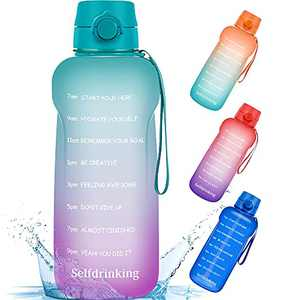 Half Gallon/64oz Motivational Water Bottle with Time Marker Reminder and Straw, BPA-Free Sports Daily Drinking Leak-proof Water Jugs for Fitness Gym Outdoor Sports Activity (Green Purple Gradients)