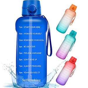Half Gallon/64oz Motivational Water Bottle with Time Marker Reminder and Straw, BPA-Free Sports Daily Drinking Leak-proof Water Jugs for Fitness Gym Outdoor Sports Activity (Blue)