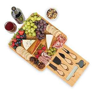 Noble Nest Bamboo Cheese Board and Knife Set with Drawer, Slate Labels, Marker and Travel Bag - Charcuterie Board Cheese Platter Great Gifts for Wine Lovers, Bridal Shower, Wedding or Housewarming