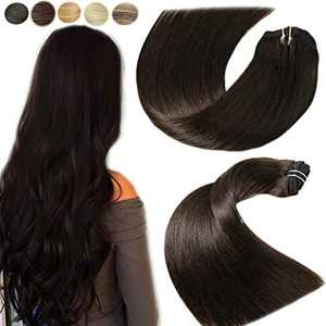 Clip In Human Hair Extensions 16 Inch 7pcs 120grams Darkest Brown Soft Double Weft No Tangling No Shedding Natural Remy Human Hair Silky Straight Human Hair Clip Silky Straight 100% Human Hair