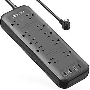 Power Strip, HITRENDS Surge Protector with 10 Outlets & 3 USB Ports & 1 Tpye-C Port (5V/3A), 1875W/3600 Joules, Angled Flat Plug, Spaced Outlets with 6ft Extension Cord for Home Office (Black)