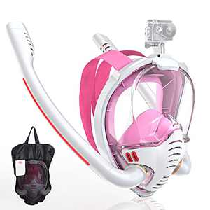 Maoyea Snorkel Mask for Women,Full Face Snorkeling Mask with Upgraded Safety Dry Top Breathing System,180 Degree Panoramic HD Seaview Swimming Mask with Adjustable Head Straps Camera Mount