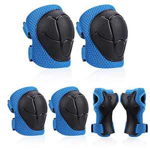 KOROTUS COLLECTION 6 Pieces Protective Gear Set With Wrist Guard,Knee Pads,Elbow Pads and Adjustable Strap,Small Size for Kids Toddler 3-9 for Skateboard Scooter Cycling BMX Bikes Rollerblading (Blue)